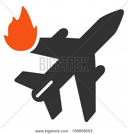 Airliner Fire vector icon. Style is flat symbol, rounded angles, white background. poster