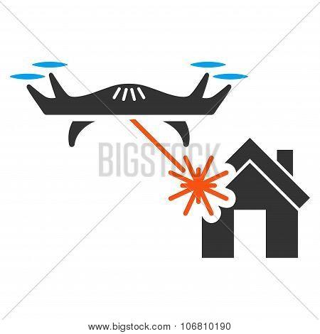 Laser Drone Attacks House Icon