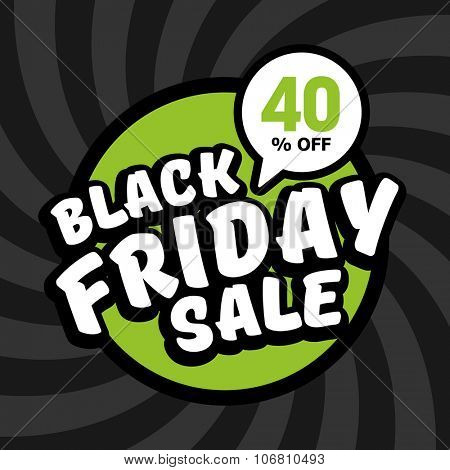 Black friday sale of 40 percent. Vector background.