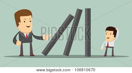 Domino effect. Vector