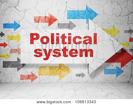 Politics concept:  arrow with Political System on grunge textured concrete wall background poster