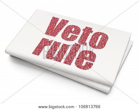 Politics concept: Veto Rule on Blank Newspaper background