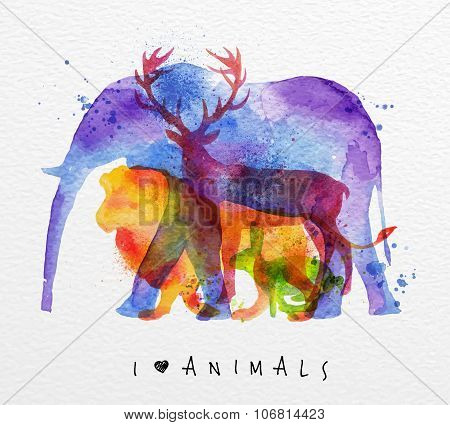 Overprint Animals Elephant