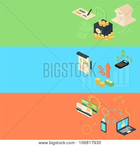 Flat isometric design banners concepts for business