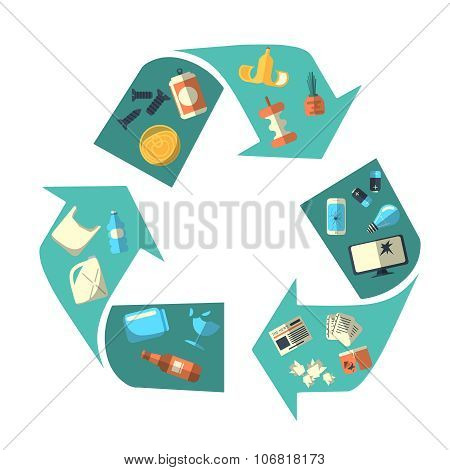Waste sorting and recycling isolated symbol