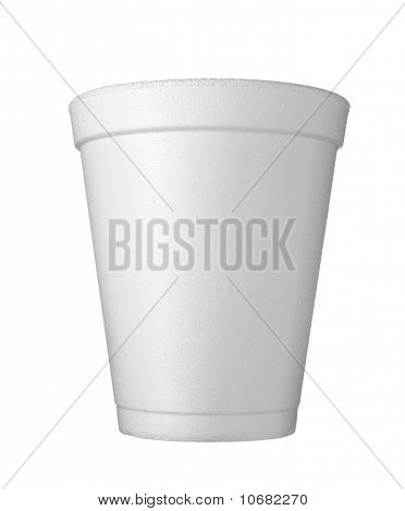 close up of styro foam coffee cup on white background with clipping path poster