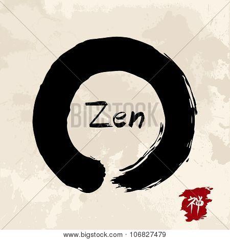 Zen Circle Illustration Traditional Enso