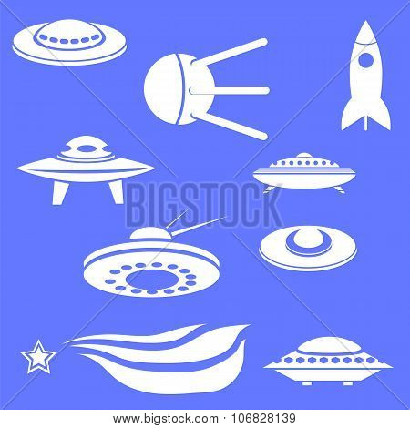 Set of Spaceships Silhouettes Isolated on Blue Background poster