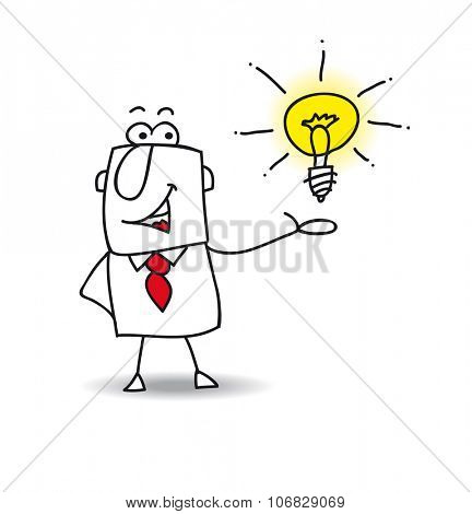 Joe presents an idea. Joe the businessman is very intelligent. He presents his idea