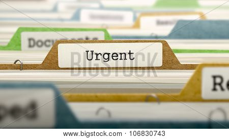 Urgent Concept. Folders in Catalog.