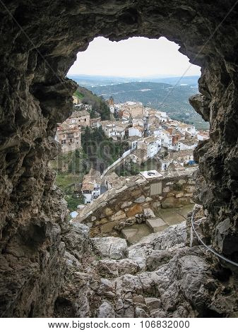 View Of The White City Through An Embrasure Of The Ancient Castle, La Iruela, Andalusia, Spain