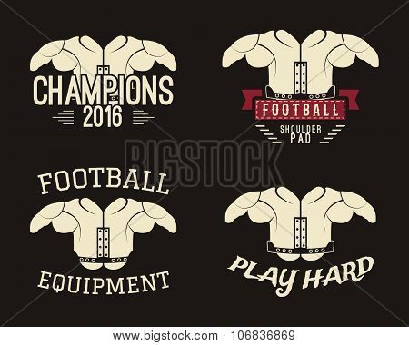 Collection of shoulder pads labels, stamps, logos, motivation insignias. Protective equipment used i