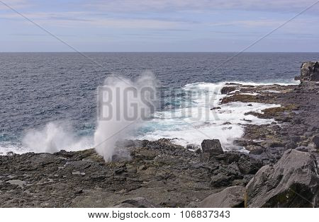 Blowhole On A Rugged Coast