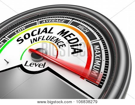 Social media influence level to maximum modern conceptual meter isolated on white background poster