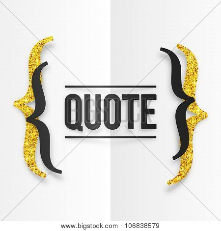 Black and golden curly brackets with place for your text at white folded paper background
