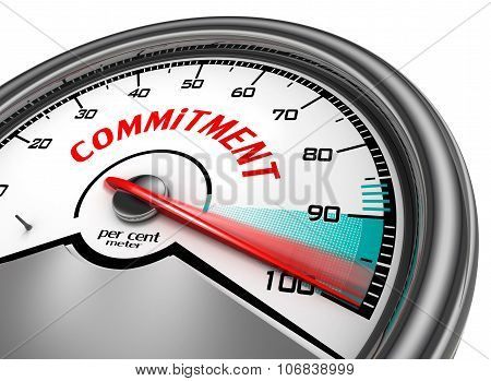 commitment to hundred per cent conceptual meter isolated on white background poster