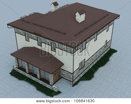 3D Illustration Of A Country House