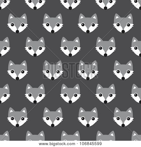 Seamless black and white foxes cute kids woodland fox theme gender neutral illustration background pattern in vector