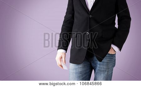 relaxed standing business dressed man