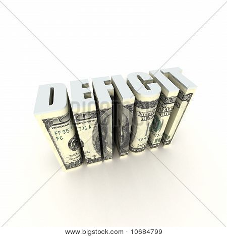 Us Deficit 3D Title Text Label