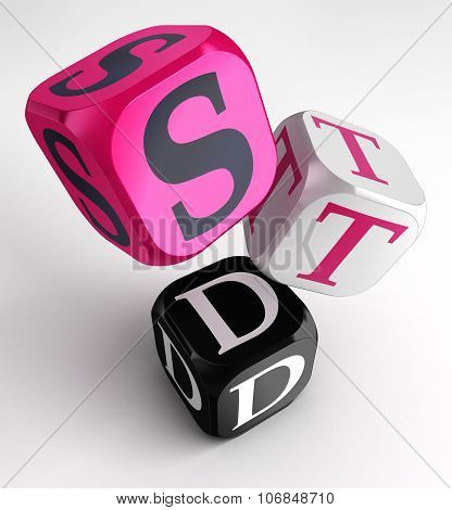 Std (sexually Transmitted Diseases) Sign On Pink, White And Black Box Cubes