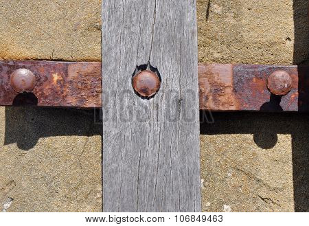 Cross in Abstract: Rusted Metal and Wood