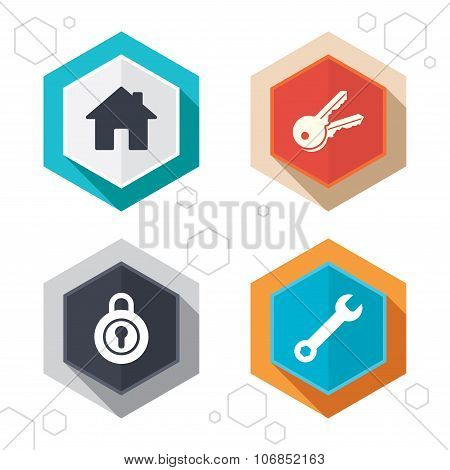 Hexagon buttons. Home key icon. Wrench service tool symbol. Locker sign. Main page web navigation. Labels with shadow. Vector poster