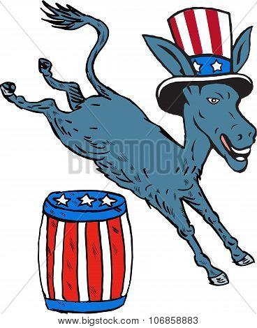 Democrat Donkey Mascot Jumping Over Barrel Cartoon
