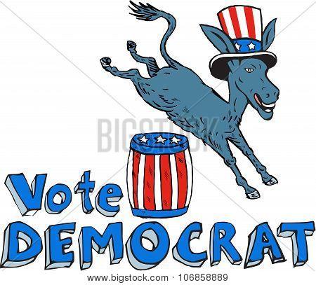 Vote Democrat Donkey Mascot Jumping Over Barrel Cartoon