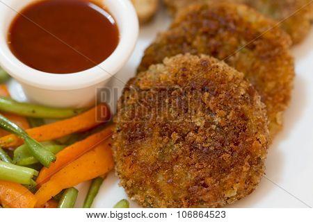 Vegetable Cutlet With Glazed Vegetables