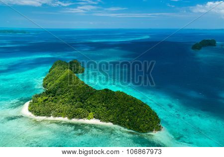 Beautiful view of Palau islands from above poster