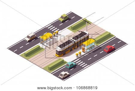 Isometric icon representing tramway station