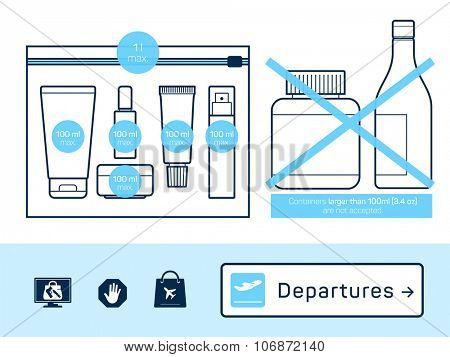 Liquids in carry-on baggage. Airport rules. Vector icons