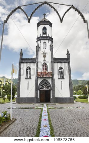 Traditional Floral Offering On Sete Cidades Church. Sao Miguel Island