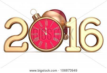 New 2016 Year's Eve Beginning Clock Santa Hat Christmas Ball