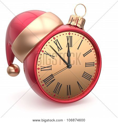 New Year's Eve clock bauble Santa hat Christmas ball decoration ornament red sparkly. Traditional wintertime holidays midnight hour countdown beginning time future symbol adornment poster