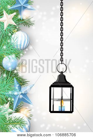 christmas theme with old black lantern, illustration