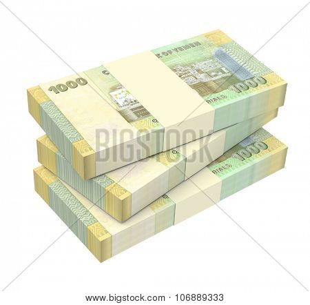 Yemeni rials bills isolated on white background. Computer generated 3D photo rendering.