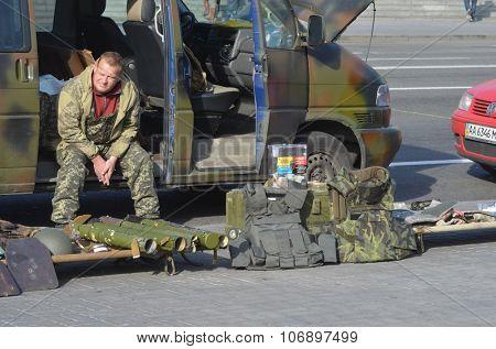 KIEV , UKRAINE - NOV 1, 2015. Flea market in downtown. Marauder sale  civil war military  items. November 1, 2015 in Kiev, Ukraine