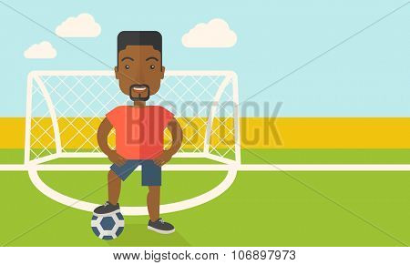 An african-american football player with ball standing on field of stadium vector flat design illustration. Horizontal layout with a text space for a social media post.