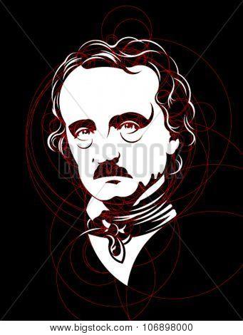 Edgar Allan Poe Circles Portrait
