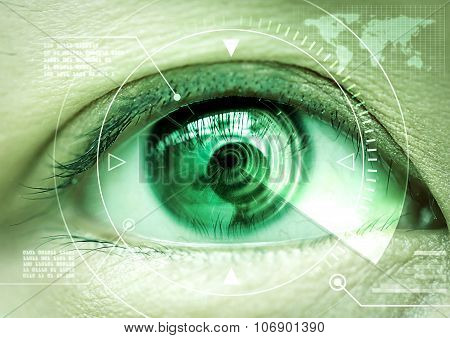 Close up women eye scanning technology in the futuristic operation lasik cataract.