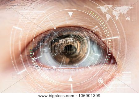 Close Up Women Brown Eye Scanning Technology In The Futuristic, Operation, Lasik, Cataract.