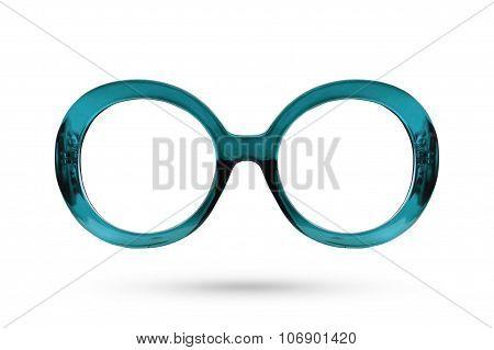 Fashion Blue Glasses Style Plastic-framed Isolated On White Background.