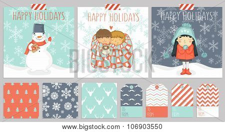 Set of three christmas cards, seamless patterns for wraping presents and gift tags in one color styl
