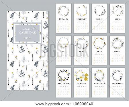 Calendar 2016 with hand drawn romantic seasonal wreaths