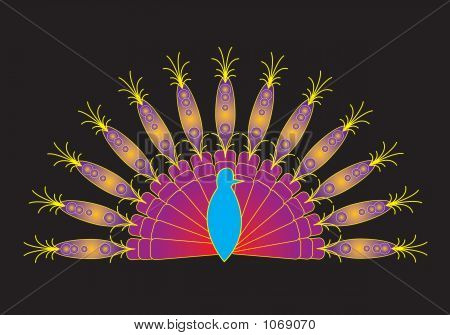 computer generated illustration of colorful bright peacock feather at night poster
