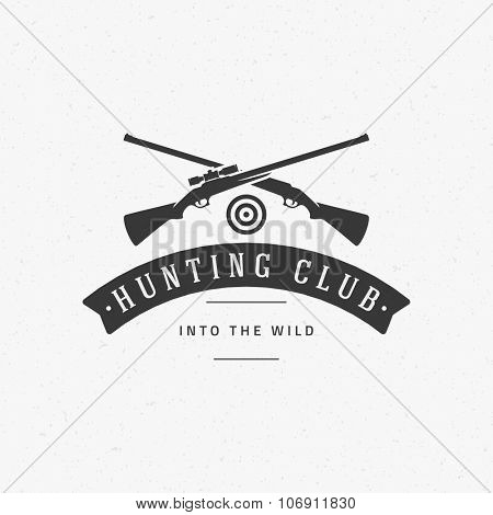 Hunting Club Vintage Logo Template Emblem. Cross Guns and Target Silhouette. Label or Badge for Advertising, Hunter Equipment and other Design. Retro Style Vector Illustration.