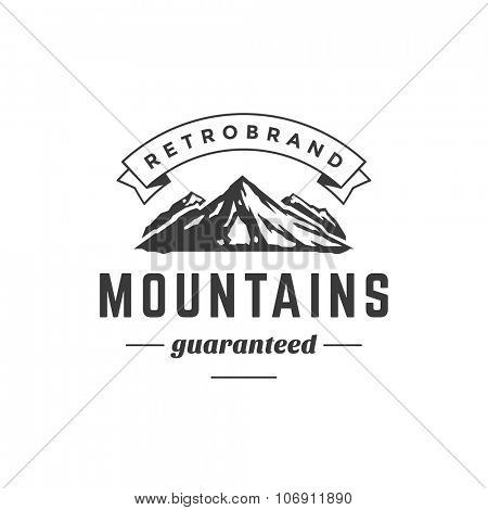 Mountain Vintage Logo Template Emblem. High Rock Silhouette. Label or Badge for Advertising, Adventure  Equipment and other Design. Retro Style Vector Illustration.  poster