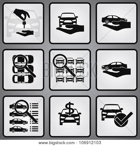 Car dealership 9 icons set